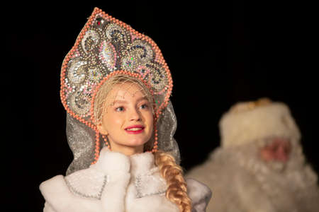 Portrait of a beautiful Russian snow maiden.