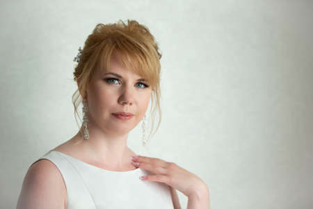 Portrait of a fair-haired woman. European-style girl. Stockfoto
