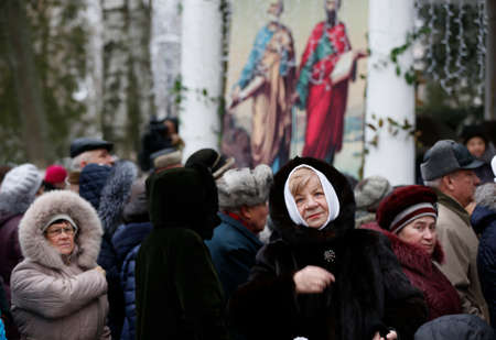 Belarus, Gomel, January 19, 2017. Epiphany. A crowd of faithful to God at the feast of the baptism of the Lord Editoriali