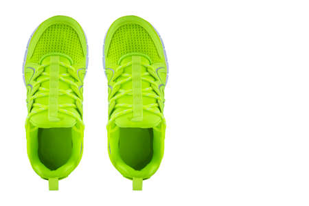 Sneakers green top view. Sport shoes on white background Stock fotó