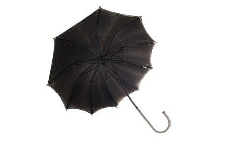Black retro umbrella on a white background