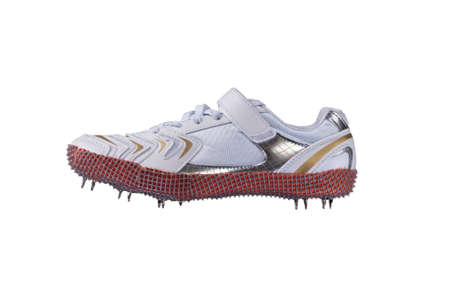 Sport shoes. White sneaker with spikes. Leather running shoes