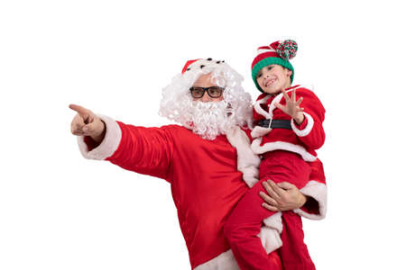 Santa Claus with a child in her arms on a white background. A man and a boy in New Years costumes.
