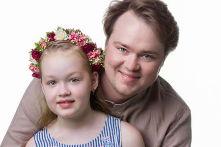 Father and daughter. Family portrait of a man with a daughter.