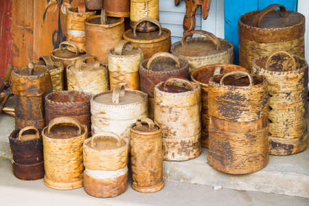 Ancient ancient birch baskets. Products from birch bark