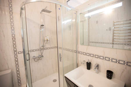 Interior small bathroom with shower