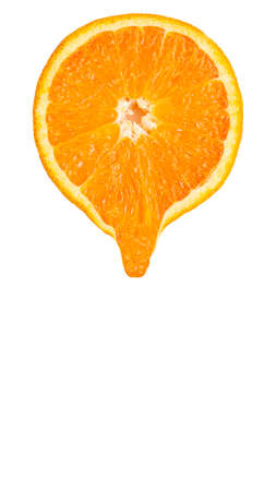 Vertical slice of orange with a drop Stock Photo