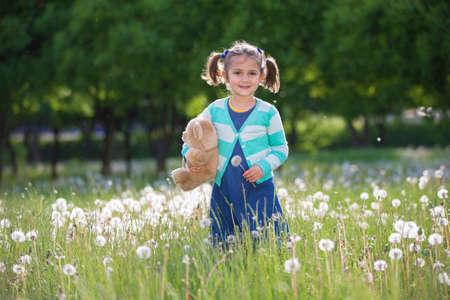 Little girl with a dandelion in the hands on the green field. Summer meadow child