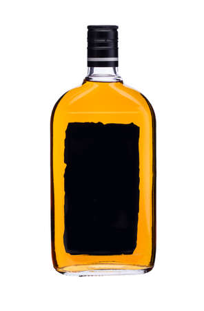 Glass bottle with yellow liquid black label on a white background