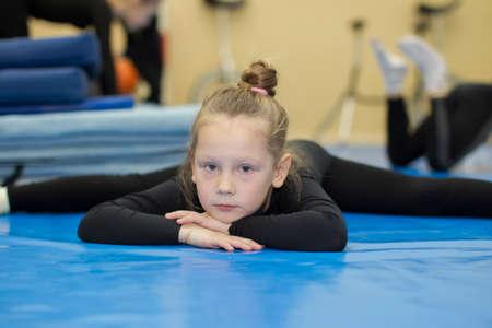 Belarus, Gomel, July 4, 2018. Indicative training circus school.Portrait of a child gymnast