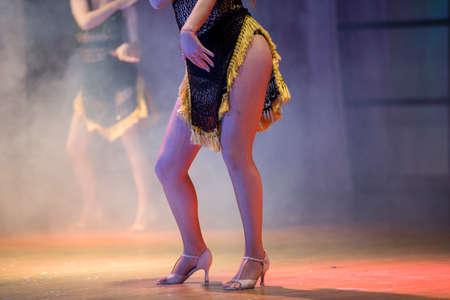 Legs in pantyhose dancer variety