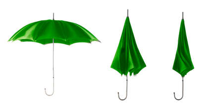 Set of green retro umbrella isolated on a white background. Step to open the umbrella