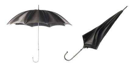 Two black umbrellas on a white background. Umbrella opening step. 版權商用圖片