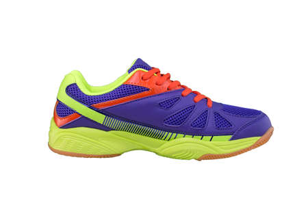 Sneakers purple with green and orange accents on a white background. Sport shoes