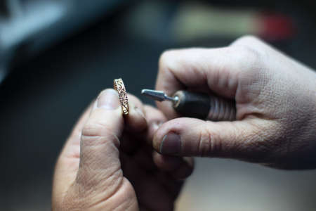 Industrial manufacture of the gold ring.Make jewelry at the factory