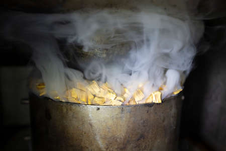 Metal pot with sawdust and smoke in an industrial oven for smoking fish.