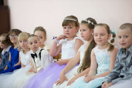 May 30, 2019 Belarus, Gomil. Kindergarten open day.Many children at the matinee in kindergarten.