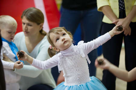 December 25, 2018 Belarus. city of Gomil. Celebration in the city. Little girl dancing at the matinee.