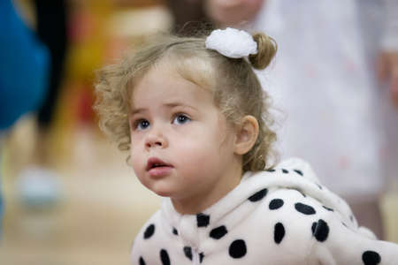 December 25, 2018 Belarus. city of Gomil. Celebration in the city. Portrait of a little girl two years old. Sajtókép