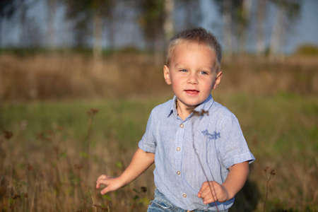 Handsome little boy with blond hair is playing in the field.