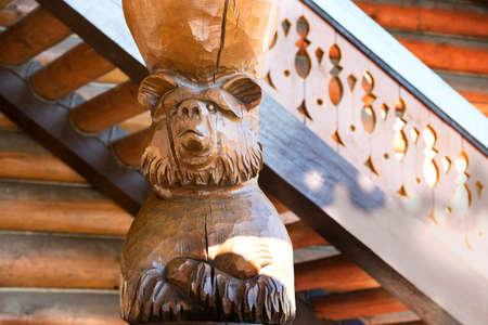 Russia, Moscow, Izmaylovsky Park, August 27, 2017. International Photo Festival.Bear made of wood. Carved bear. Wooden bear