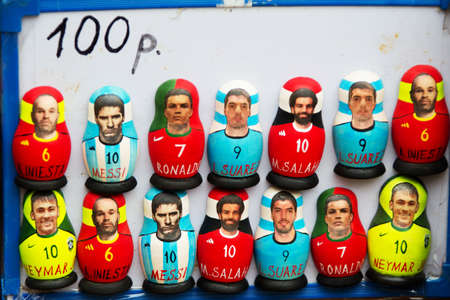 Russia, Moscow, June 8, 2018. Central market. Famous football players of the world in the form of Russian nested dolls Sajtókép