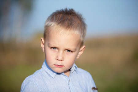 Portrait of a blond and blue-eyed three-year-old boy. Stock fotó