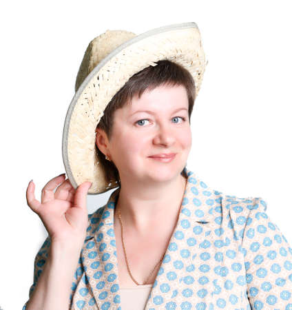 Woman in a straw hat on a white background.Coquettish women of middle age