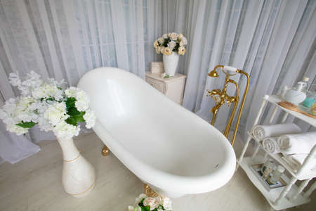 The interior of a beautiful bathroom in a luxurious style.