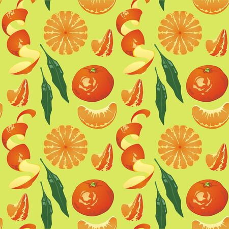 lobule: Fresh juicy tangerines and oranges in the pattern. Can be used as the theme of the New Year, and a hot summer season.
