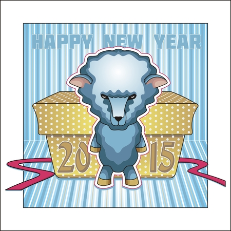 Greeting card for the New 2015. Year wooden sheep. Vector