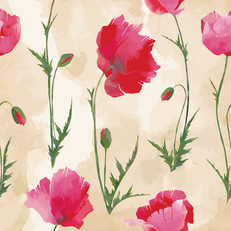 Seamless with vector poppies on beige background that looks like old crumpled paper. For floral design, summer design or something in vintage style. Vettoriali