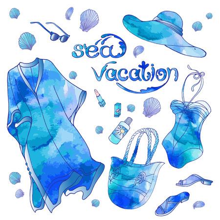 The set of vector objects, women clothes and acsessories for sea summer vacation. Watercolor effect