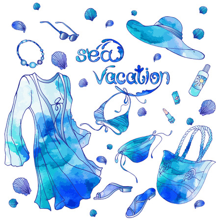 Set of vector objects about summer sea vacation with watercolor effects.