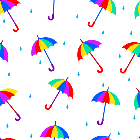 Seamless vector pattern with colorful multicolor umbrellas.