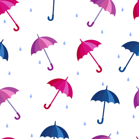 Seamless vector pattern with umbrellas in cold palette.