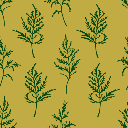 Seamless vector pattern with dark green herbs on an olive green background.
