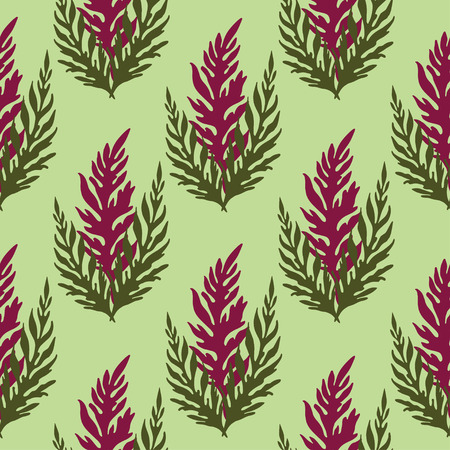 Seamless vector pattern with green and burgundy herbs on light green background