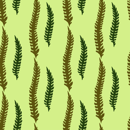 Seamless vektor pattern with dark green and olive color leaves of fern on light green background Vettoriali