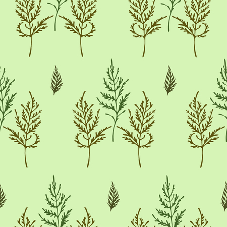 Seamless vector pattern with olive color and green herbs on light green background.