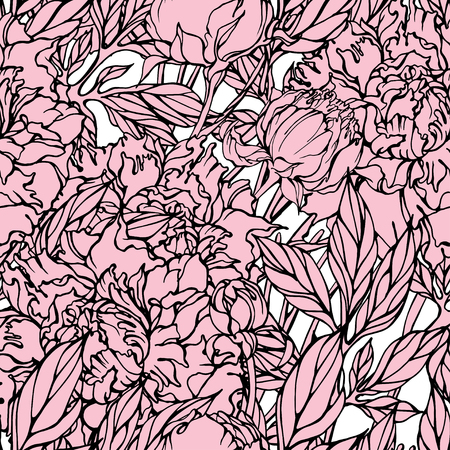 Vector seamless pattern with line drawing peony in pink color on white background.