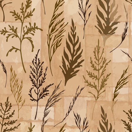 Seamless vector pattern with herbs that looks like herbarium on brown vintage paper