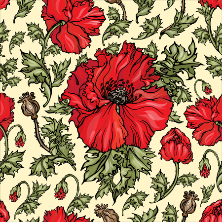 Vector seamless pattern with realistic red poppies flowers. Endless texture for summer design