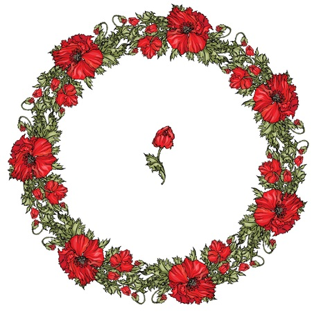 Vector garland with red poppies flowers, buds and green leaves. Frame for holiday summer design. Vettoriali