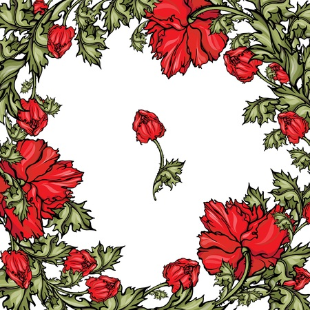 Vector pattern with red poppies. Floral frame for summer design.