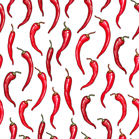 Vector seamless pattern with red small peppers on white background. For summer or food design Vettoriali