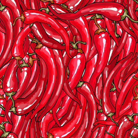 Seamless with a lot of bright red chili peppers. For colorful summer or food design
