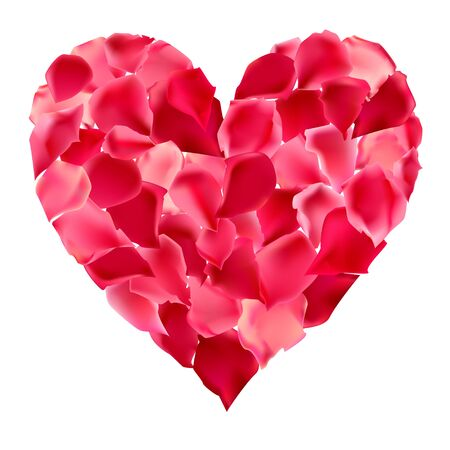 Vector red and pink rose petals making heart form. Elements for wedding, romantic, love design.