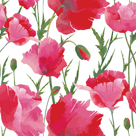 Vector seamless pattern with bright red poppies and poppies buds. Watercolor effect. For floral summer design.