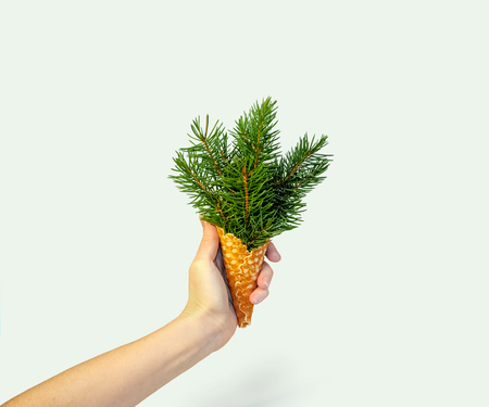 Christmas Tree Ice Cream in Woman Hand on Ligth Background. New Year Concept. Minimal Holiday Composition. Copy Space 写真素材